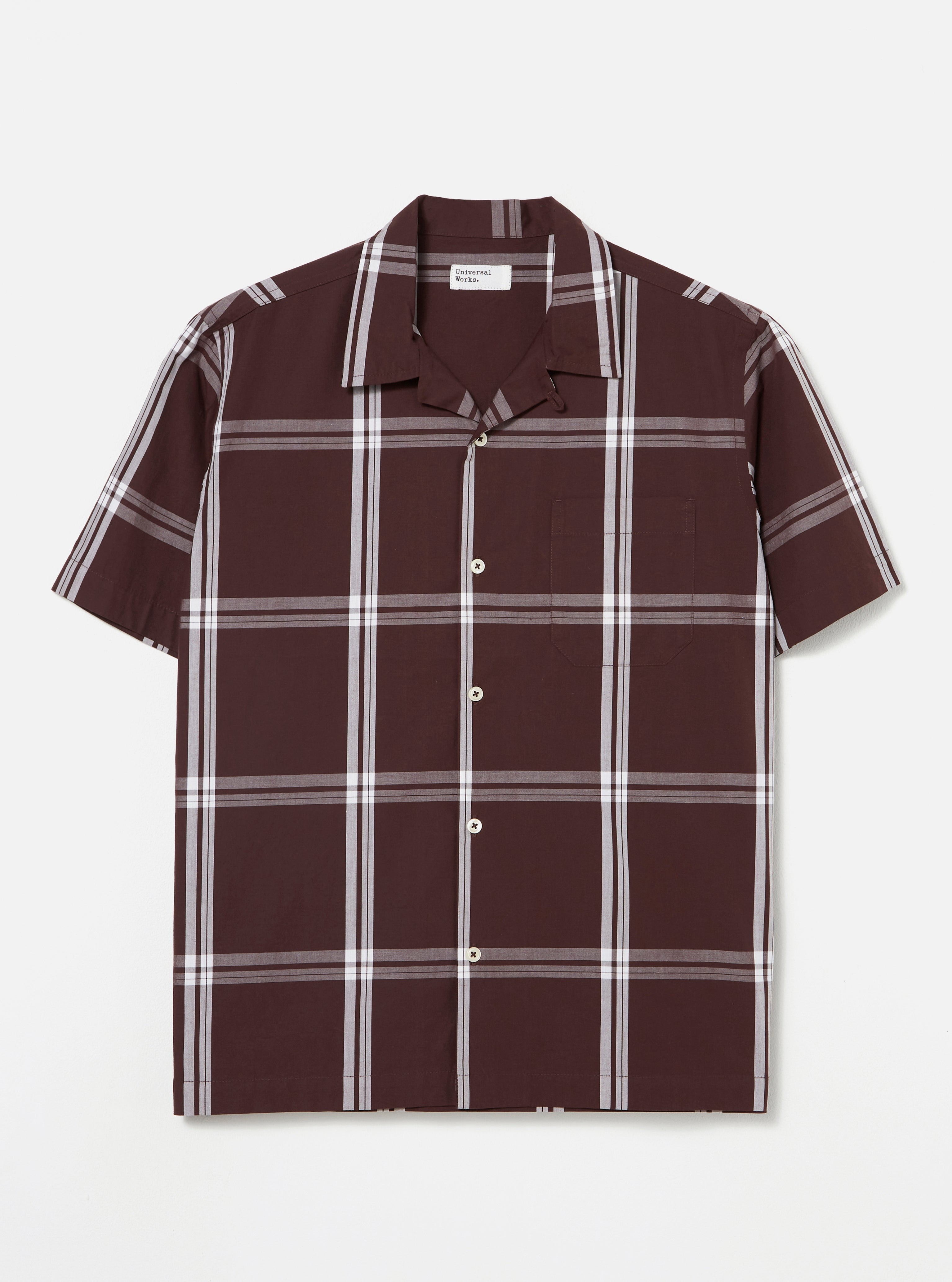 Universal Works Road Shirt in Brown Check Shirting