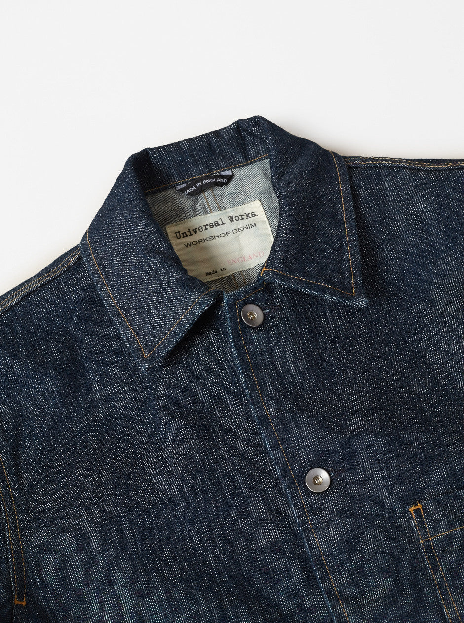 Universal Works Workshop Denim Bakers Chore Jacket In Indigo Slub Selvedge Denim