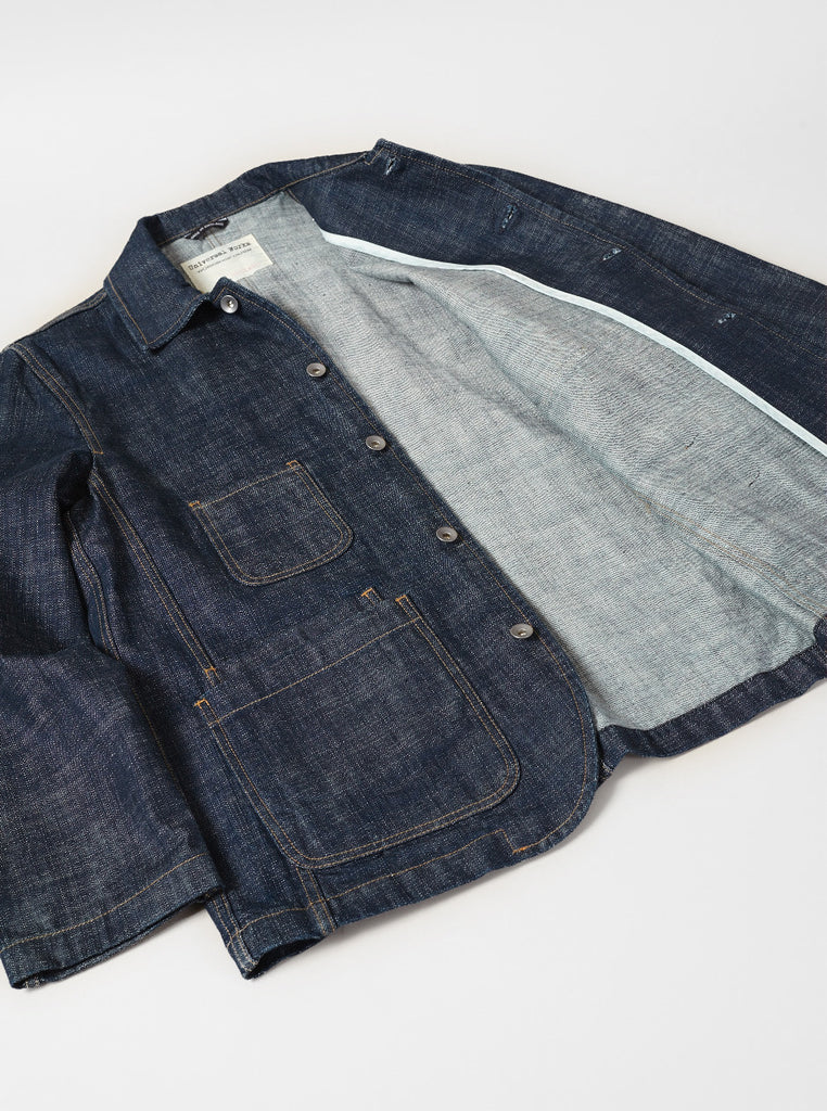 Workshop Denim Bakers Chore Jacket In Indigo Slub Selvedge Denim