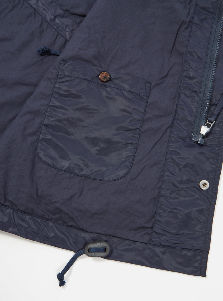 Universal Works NS Short Parka in Navy Flight Nylon
