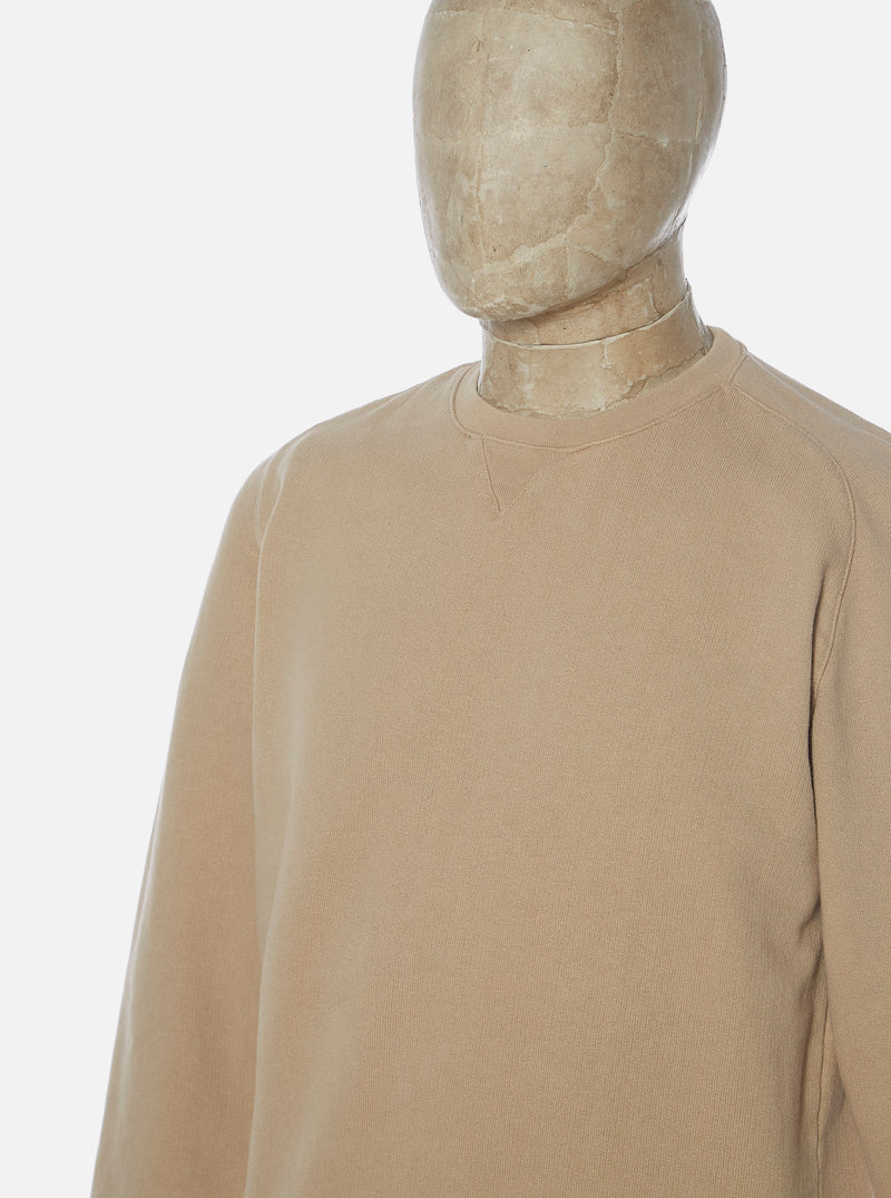 Universal Works Classic Crew Sweatshirt in Sand Dry Handle Loopback