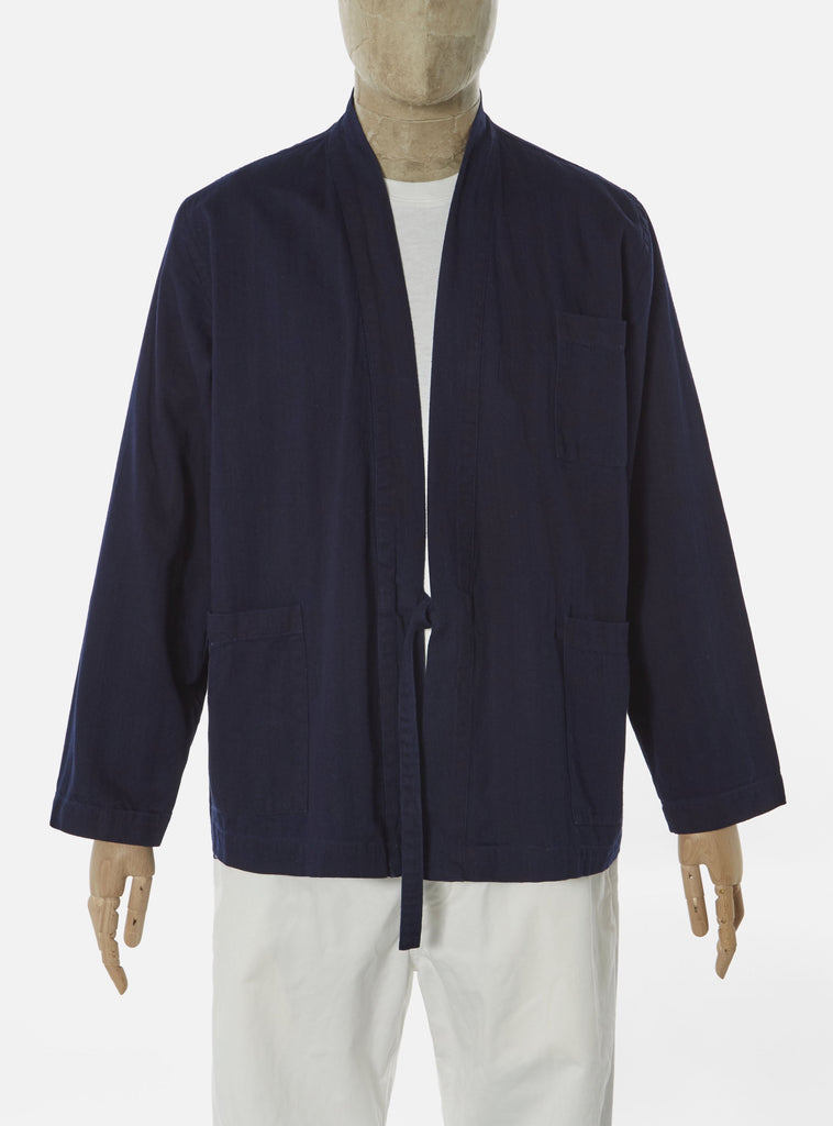 Universal Works Tie Front Jacket in Indigo Herringbone Denim