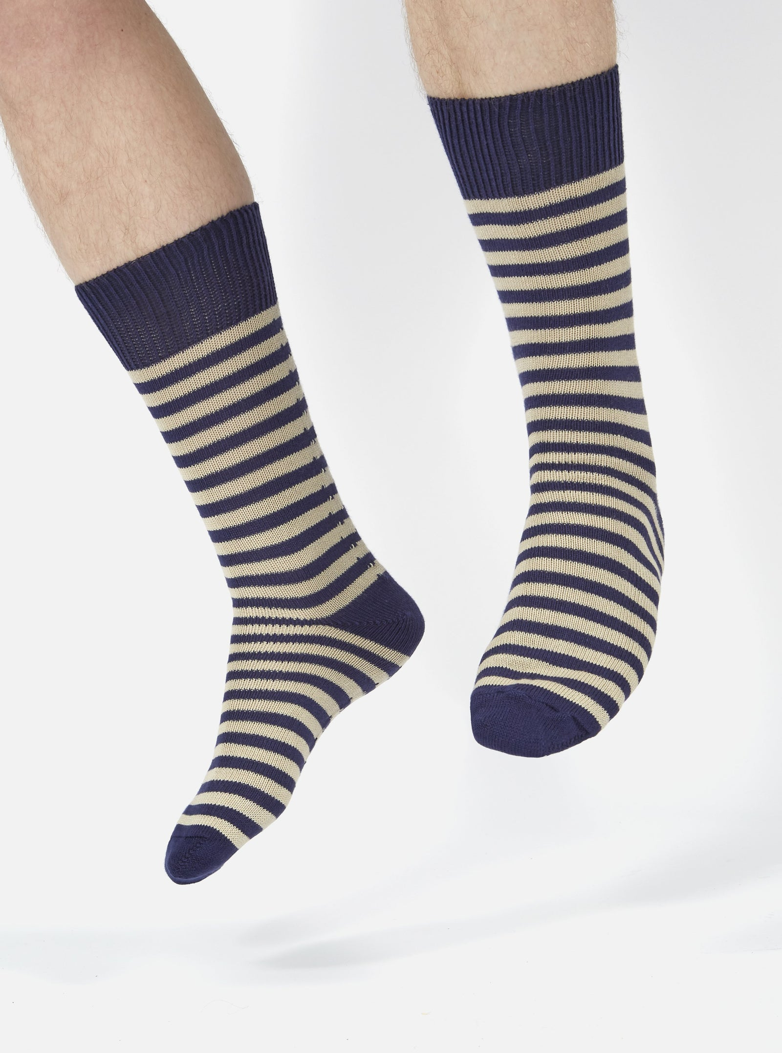 Universal Works Stripe Sock in Navy Cotton