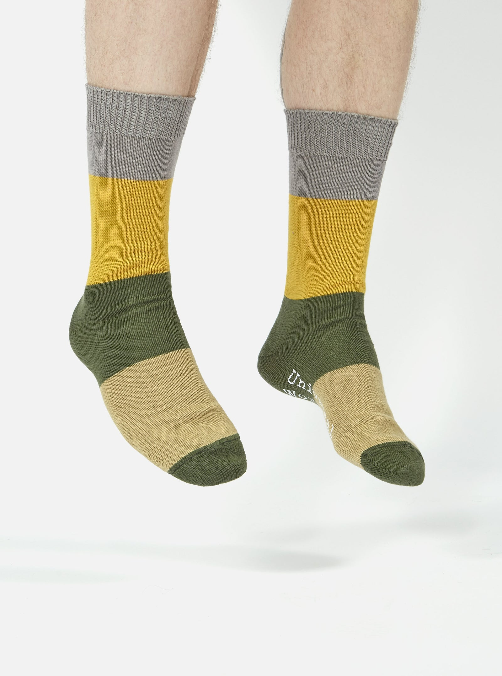 Universal Works Bold Stripe Sock in Grey/Gold Cotton