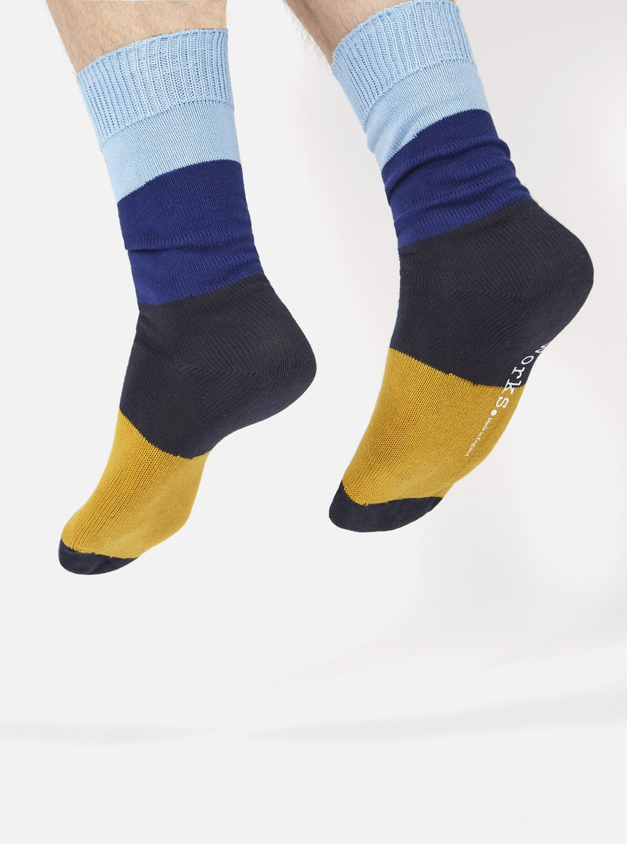Universal Works Bold Stripe Sock in Sky/Indigo Cotton
