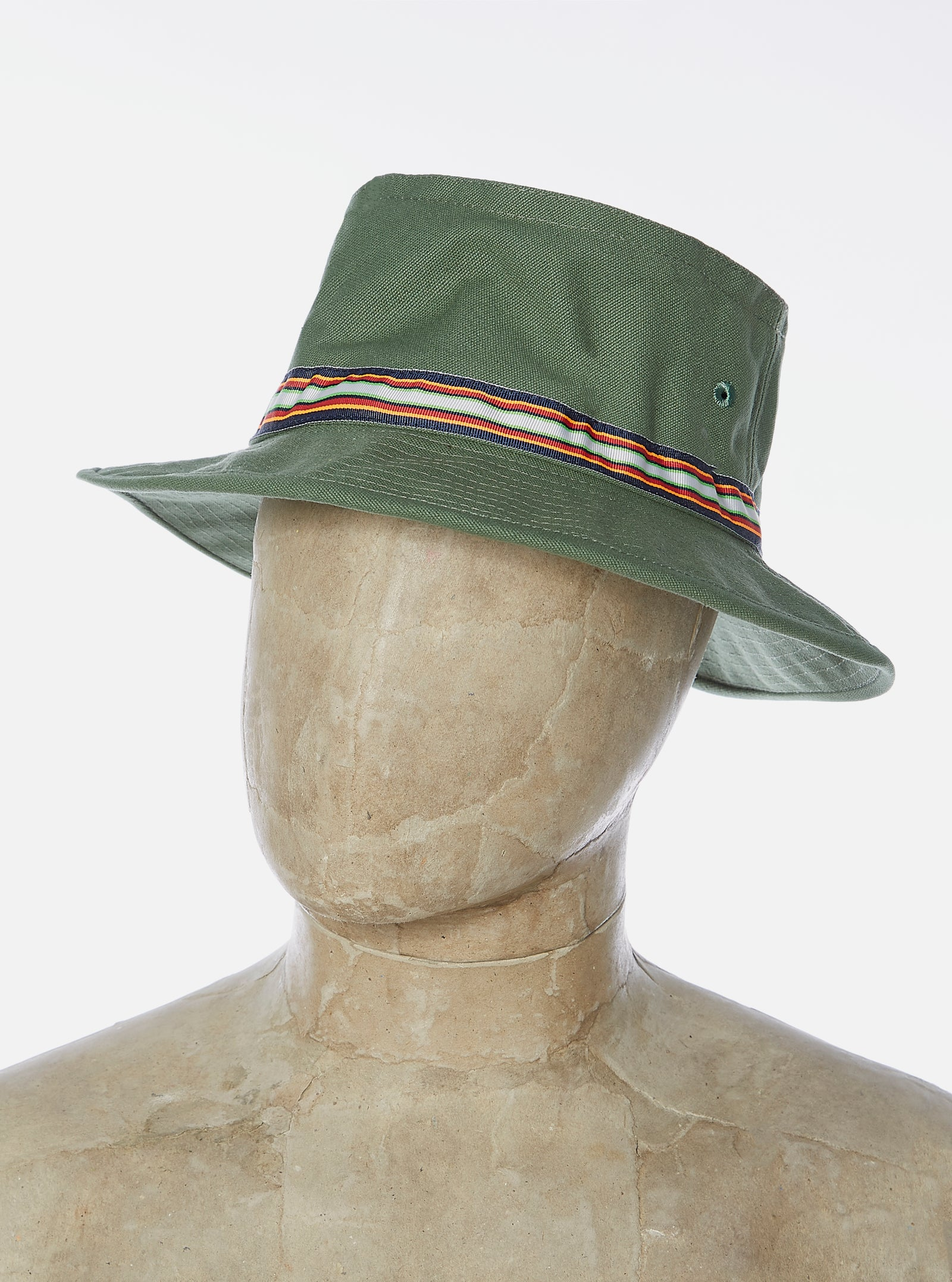 Universal Works Pork Pie Hat in Bright Olive Canvas