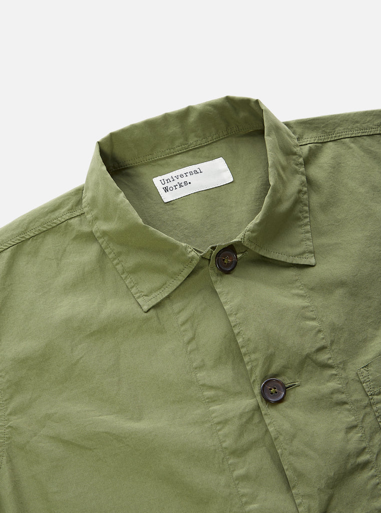 Universal Works Bakers Overshirt in Olive Poplin