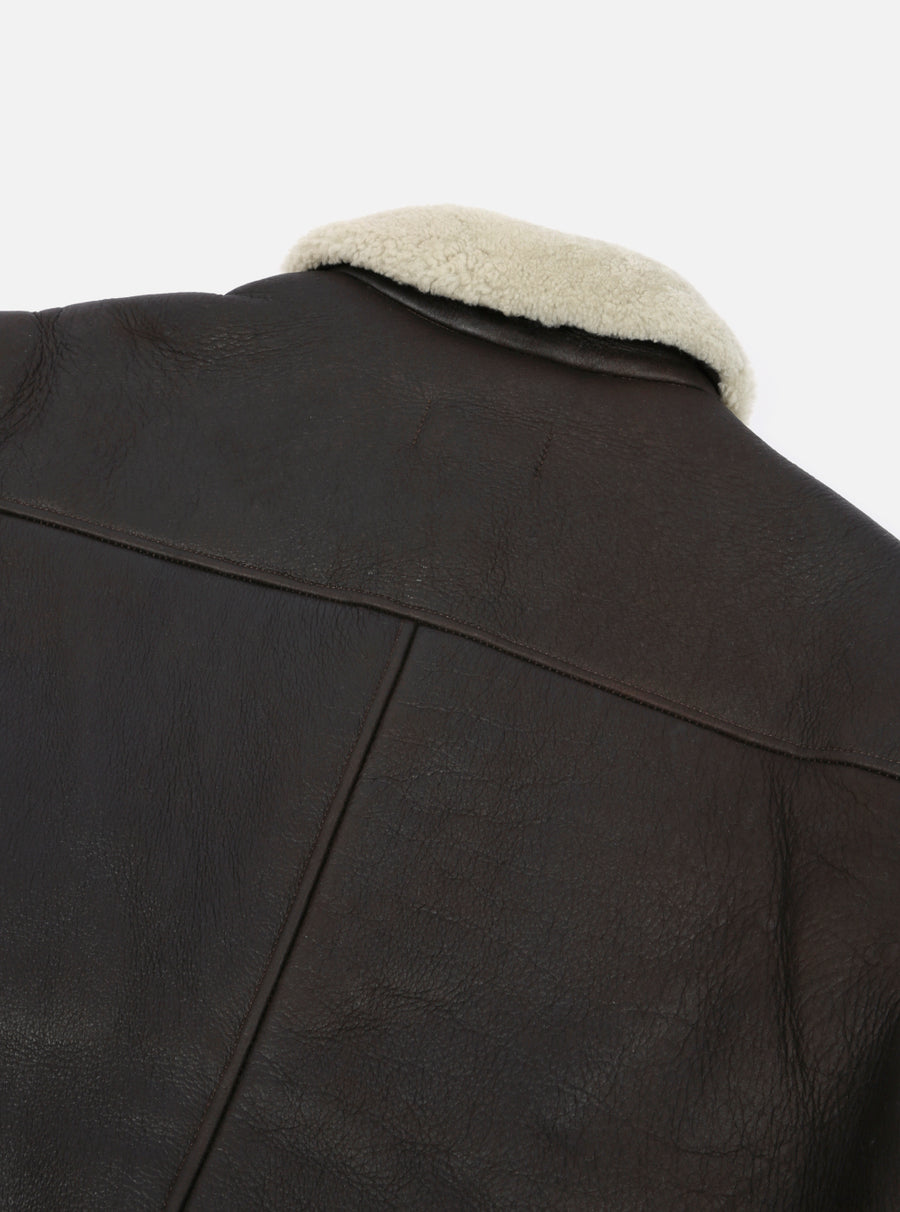 Universal Works Bakers Jacket in Brown Sheepskin