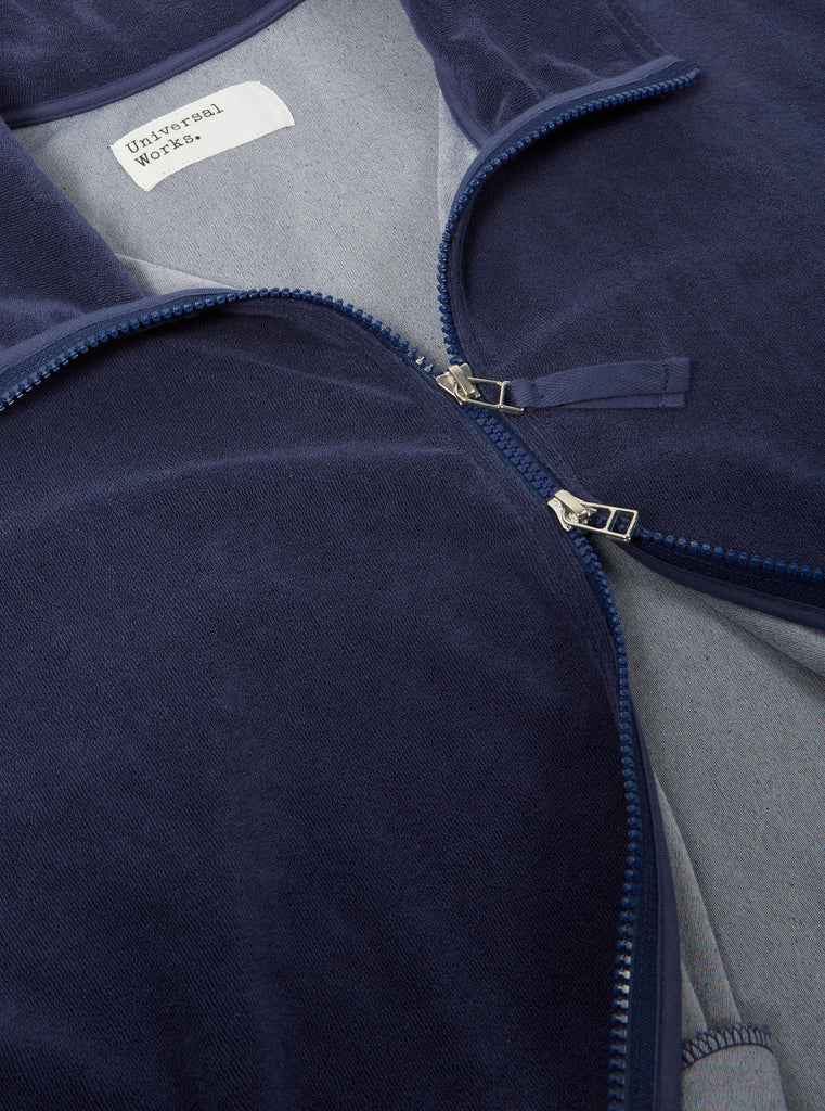 Universal Works Beach Zip Through in Navy Terry Fleece