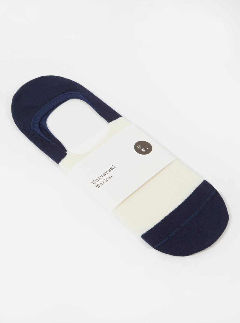 Universal Works No Show Sock in Ecru/Navy Cotton Mix Knit