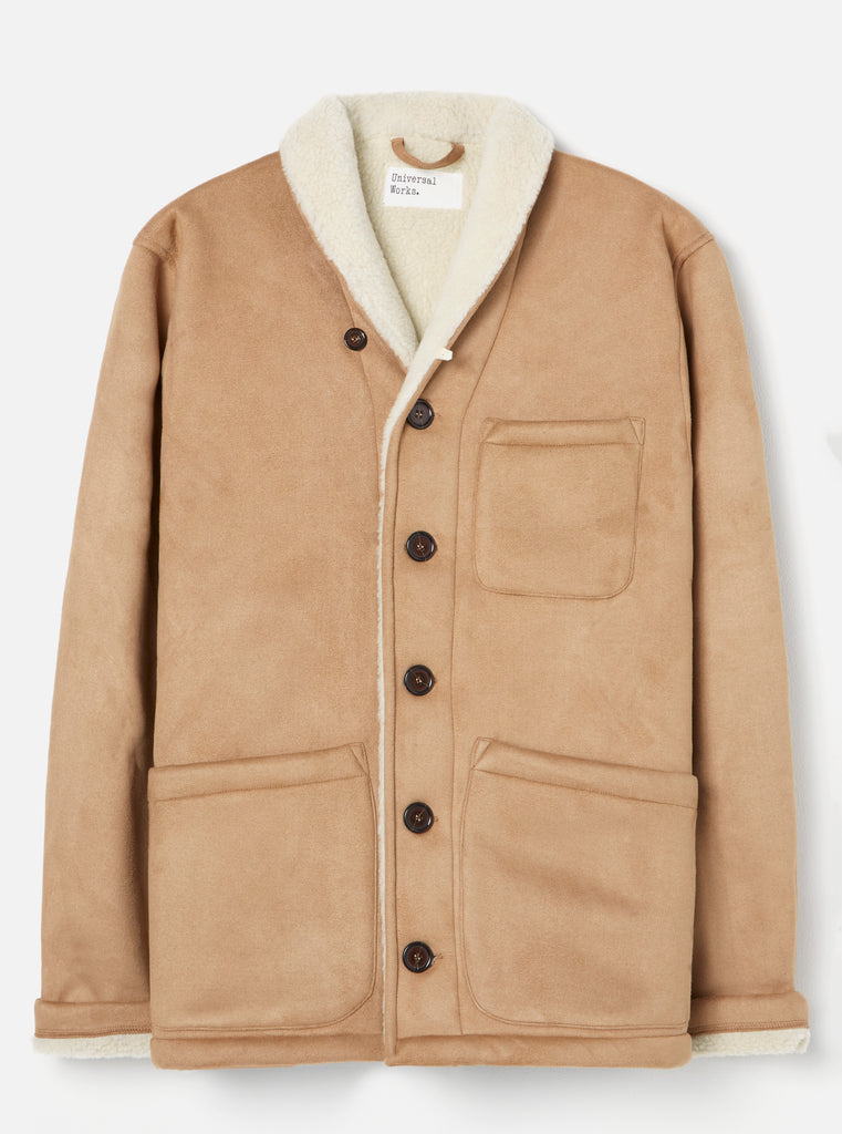 Universal Works Prairie Jacket in Sand Faux Shearling