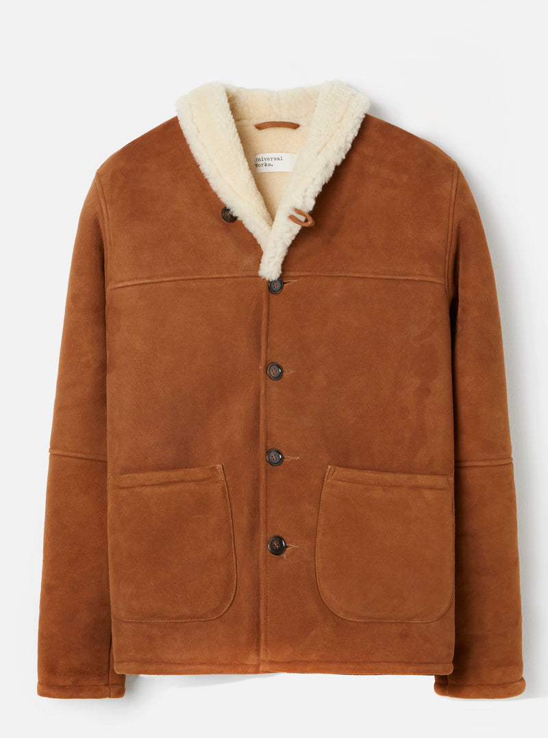 Universal Works Shearling Prairie Jacket in Cumin Suede