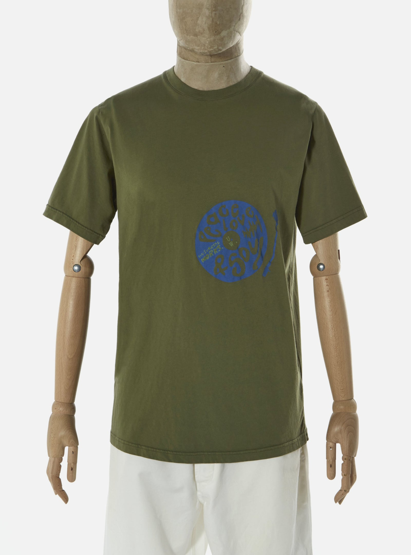 Universal Works Print Tee in Olive Organic 'Peace, Love and Soul' Jersey