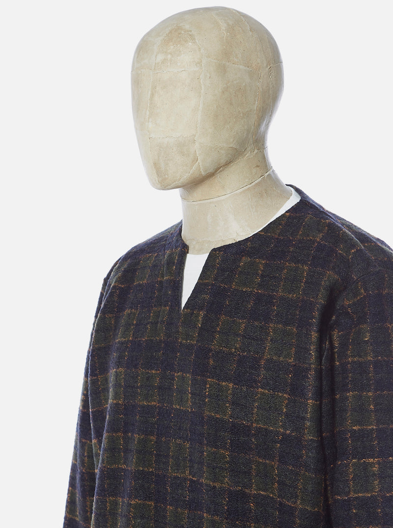 Universal Works Oversized Split Neck in Olive Dam Check
