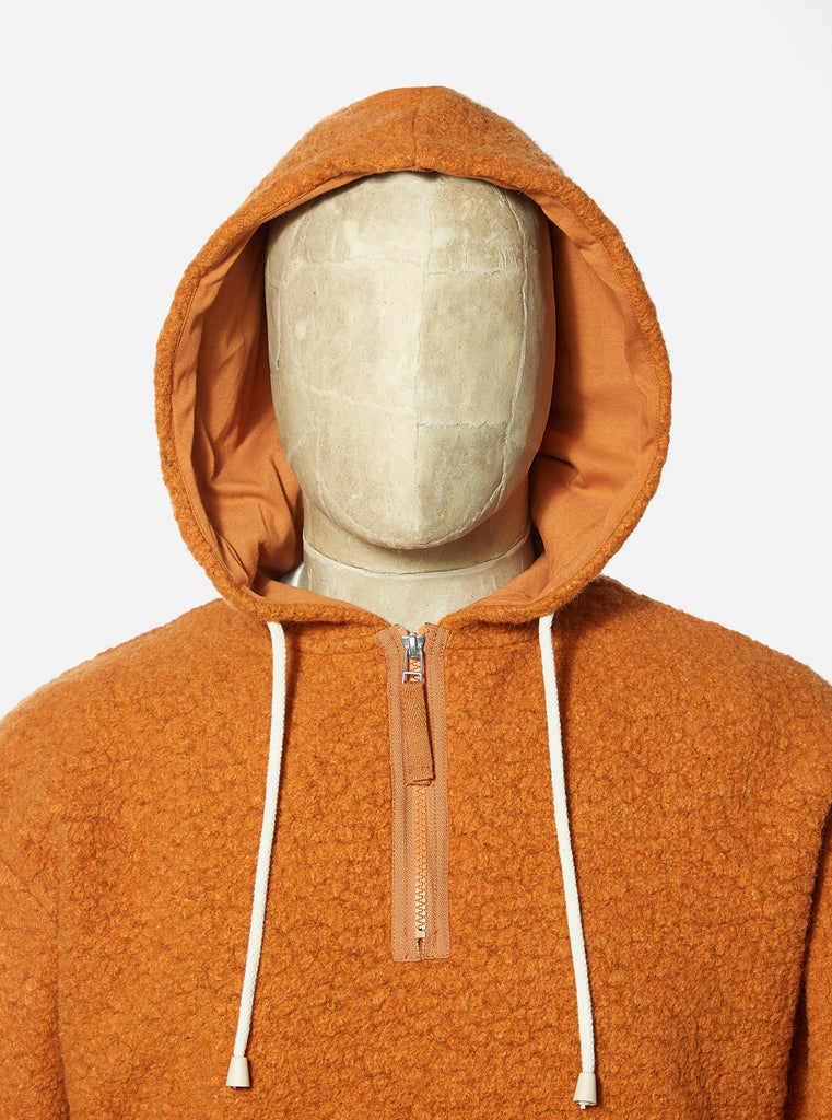 Universal Works Beach Hoody in Orange Tibet Fleece
