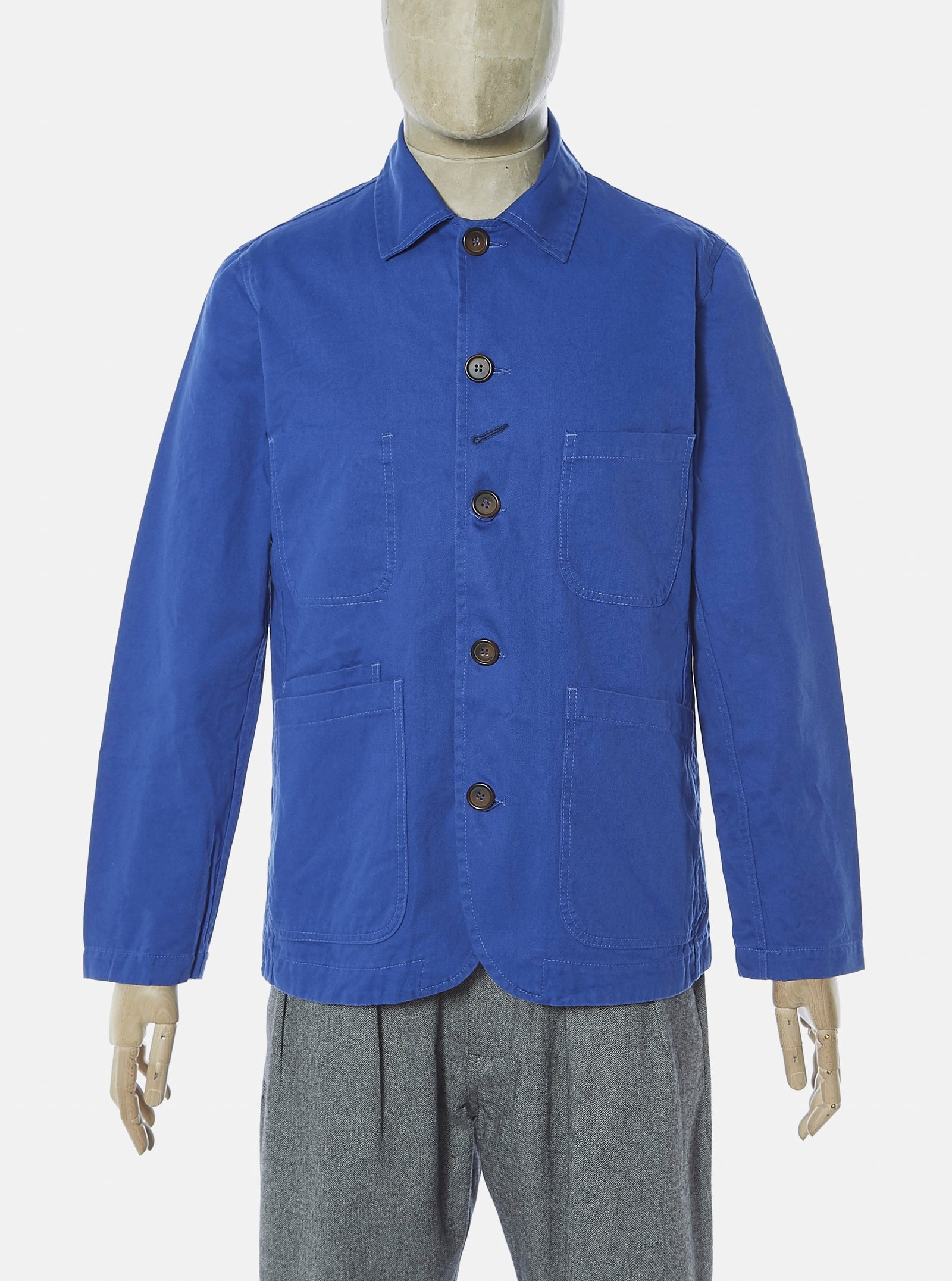 Universal Works Bakers Jacket in Royal Blue Byron Twill