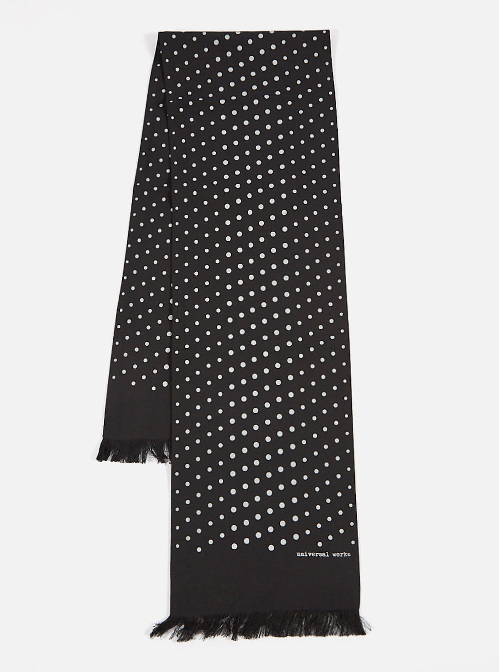 Universal Works Short Scarf in Black Dot Print