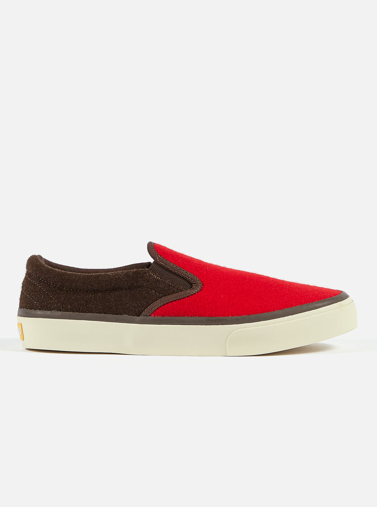 Universal Works x Sebago Jack in Red/Chocolate Burel