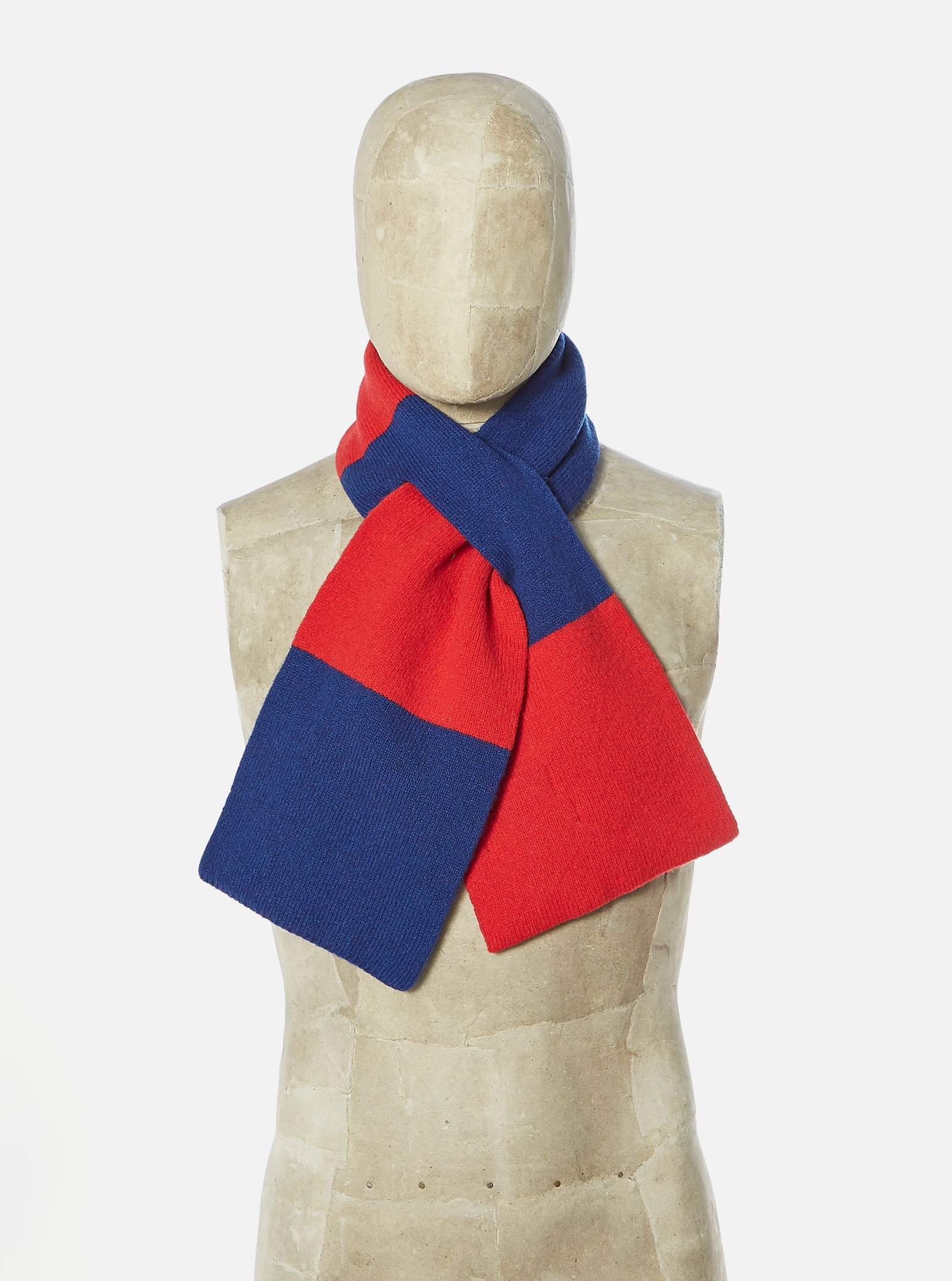 Universal Works Deluxe Football Scarf in Red/Blue Soft Wool