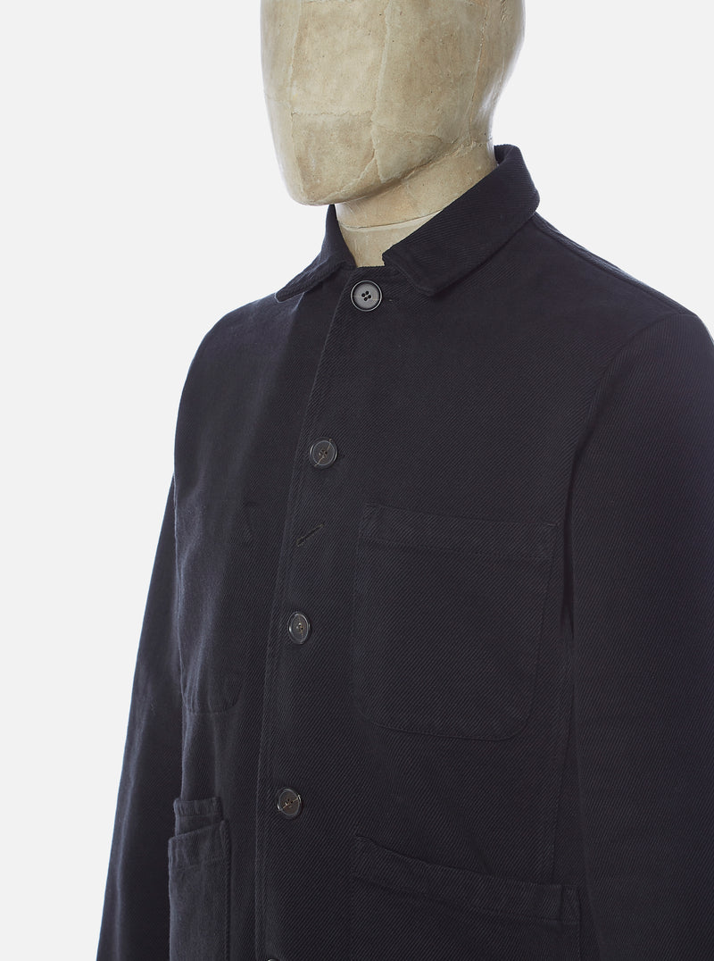 Universal Works Bakers Jacket in Black Trio Twill