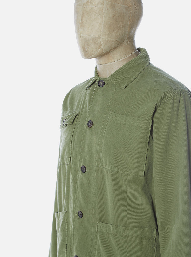 Universal Works Dockside Overshirt in Olive Super Fine Cord