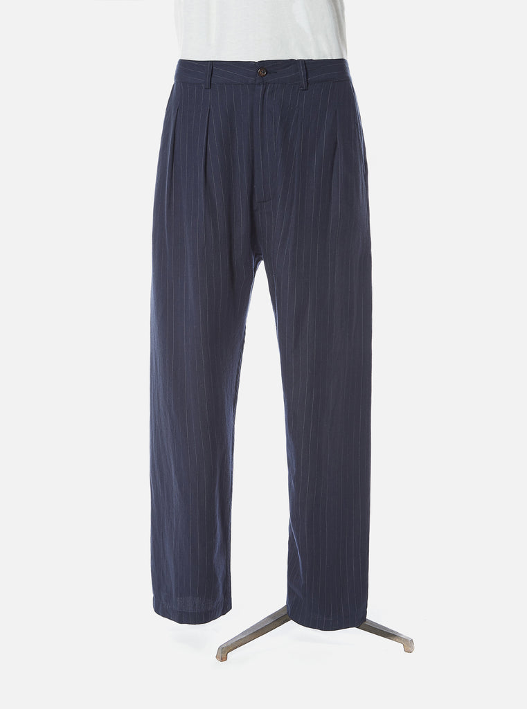 Universal Works Double Pleat Pant in Navy Vintage Stripe