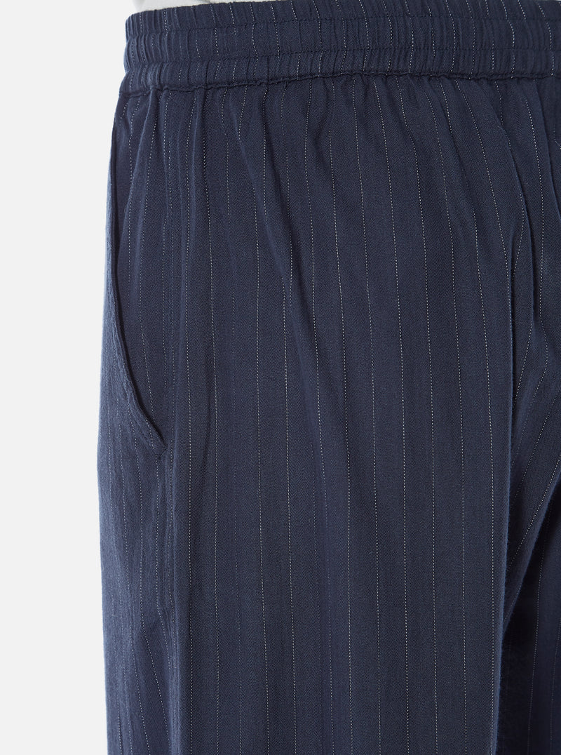 Universal Works Track Trouser in Navy Vintage Stripe