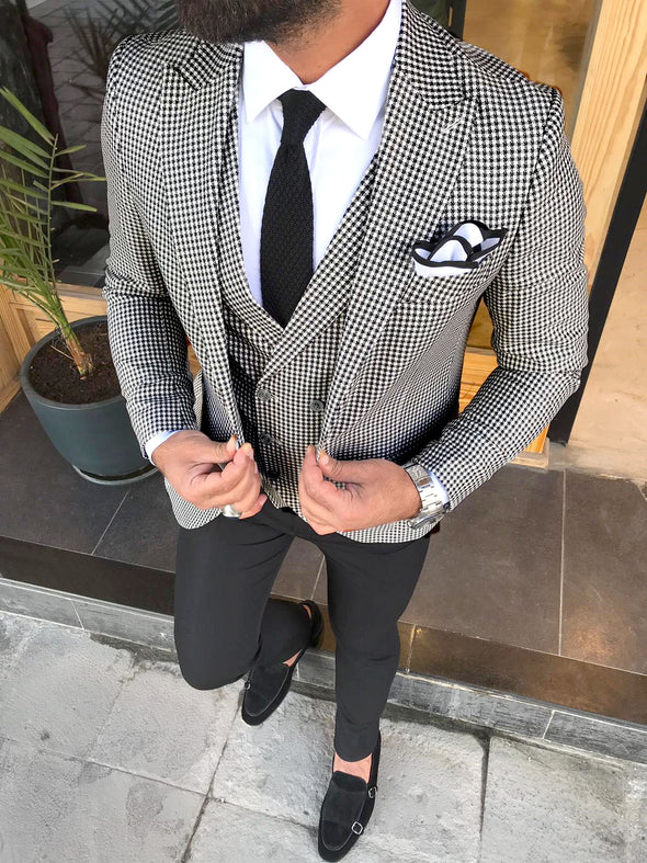Sampson - Black/White 3 Piece Suit