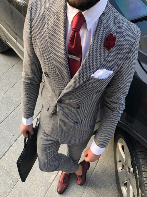 Valente - Grey/Black 2 Piece Suit