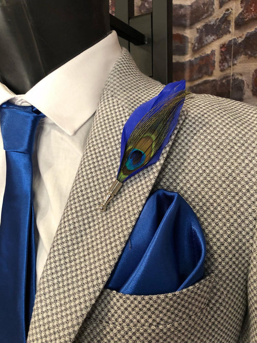 Feather Lapel Pin 1 - Blue