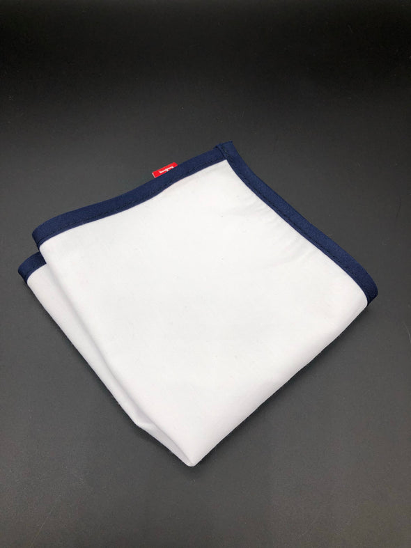 Pocket Square - Navy/White