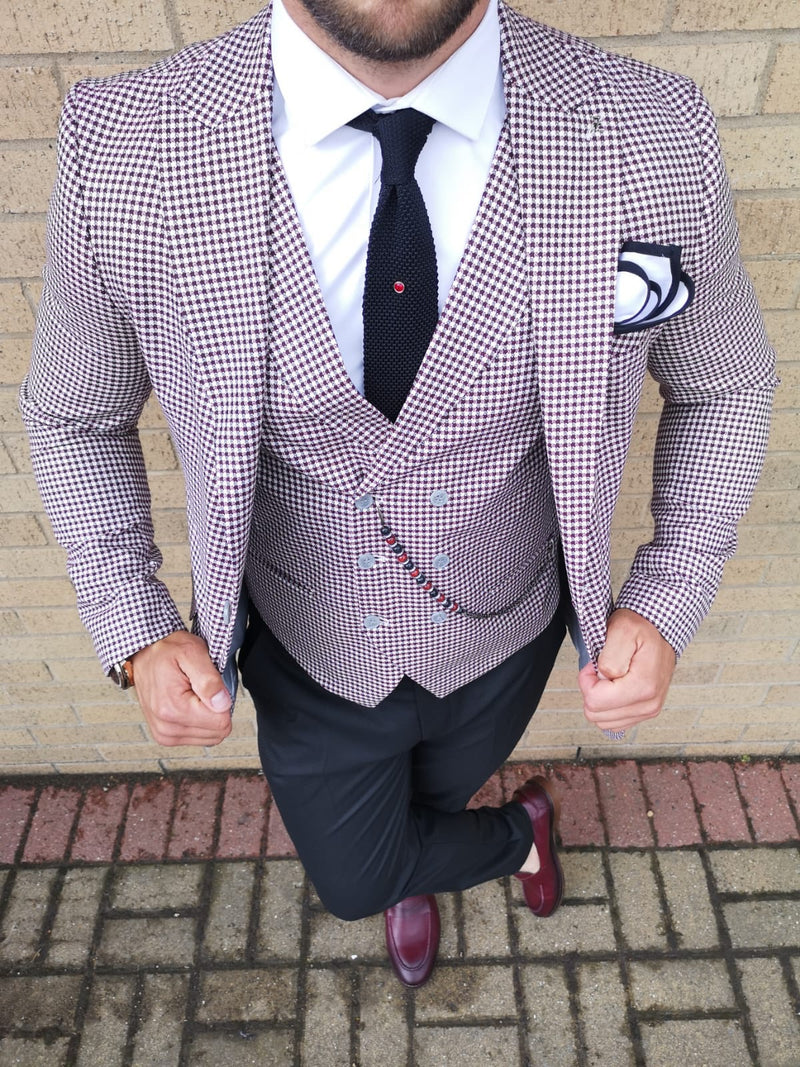 Sampson - Red 3 Piece Suit