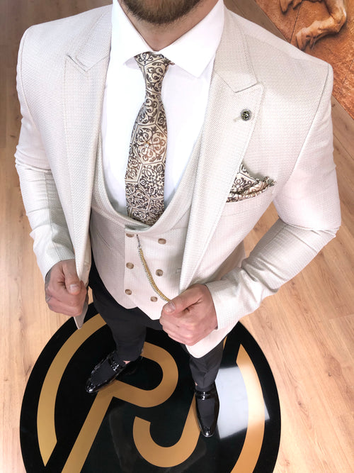 Shelton - Cream 3 Piece Suit