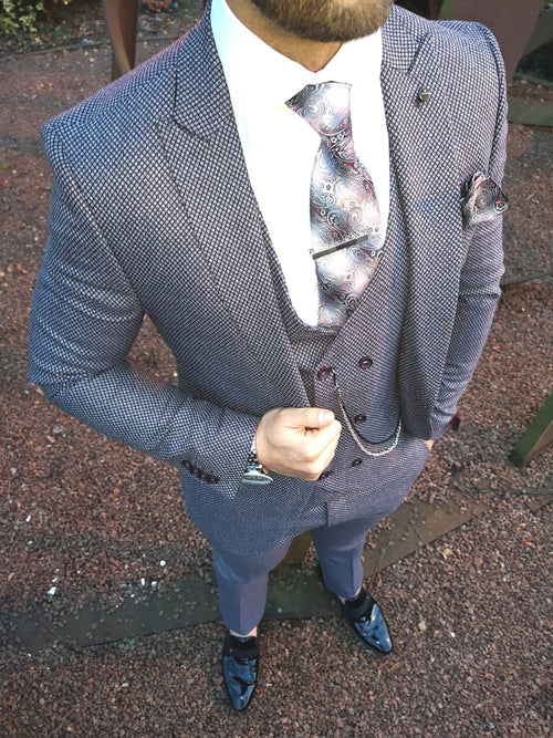 Anton - Purple 3 Piece Suit