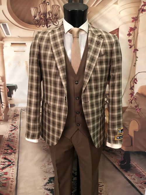 Renzo - Brown 3 Piece Suit