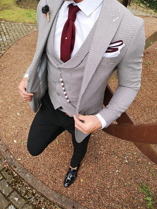 Pocket Square - Burgundy/White