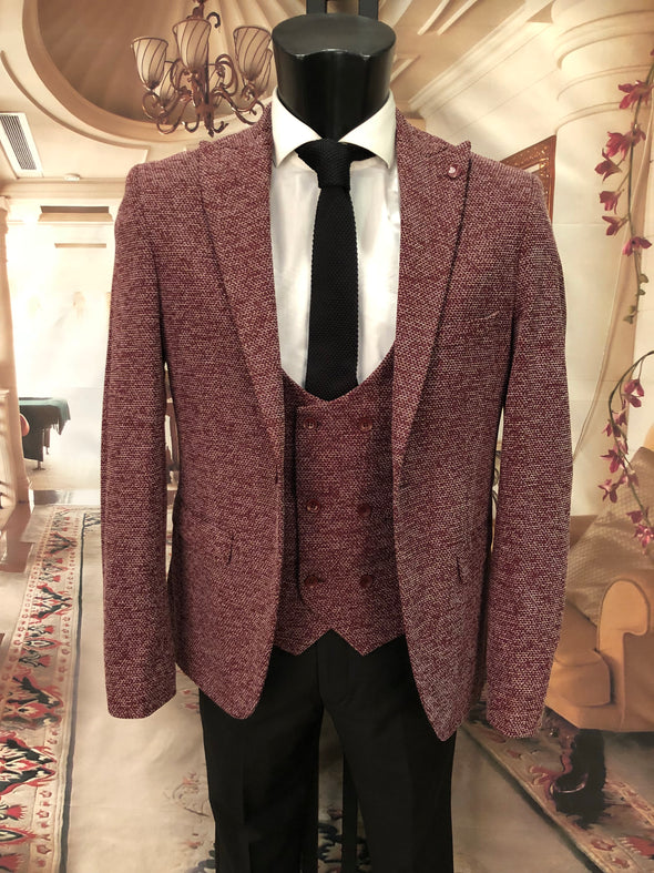 Preston - Red 3 Piece Suit