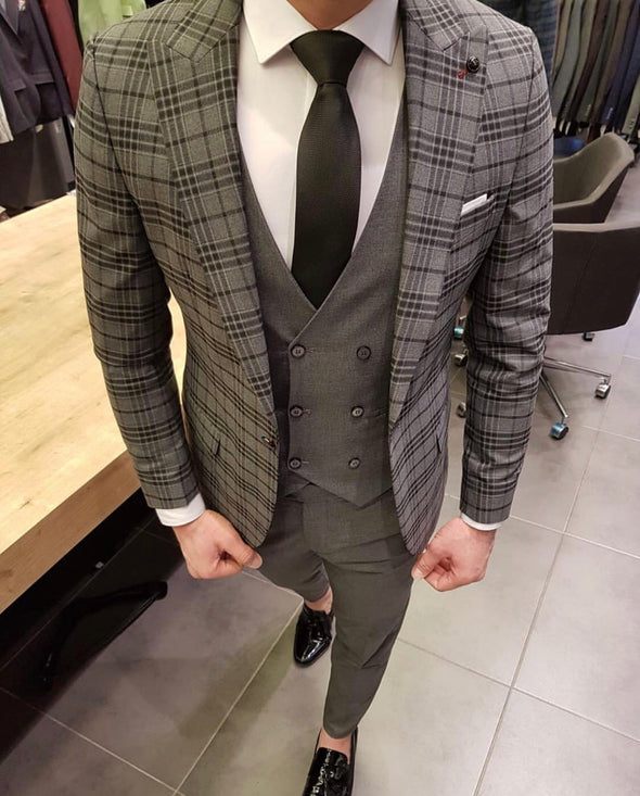 Miguel - Grey/Black 3 Piece Suit