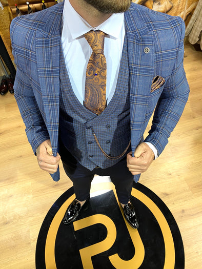 Wilson - Navy/Orange 3 Piece Suit