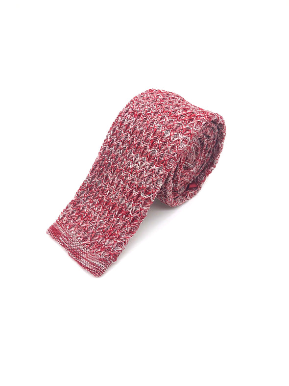 Knitted Flat Edge Pattern Tie - Red