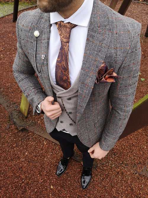 Medina - Grey/Orange 3 Piece Suit