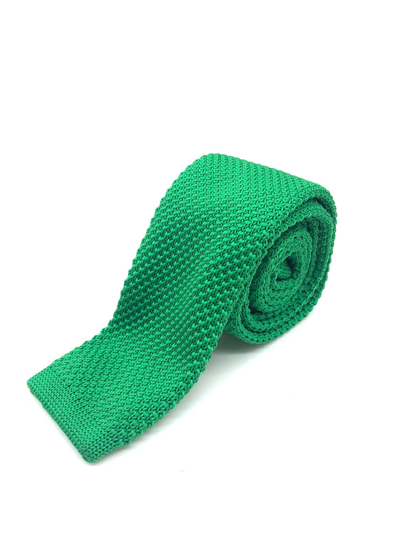 Knitted Flat Edge Tie - Green