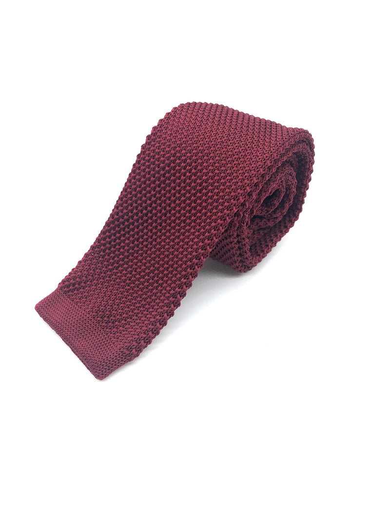 Knitted Flat Edge Tie - Burgundy