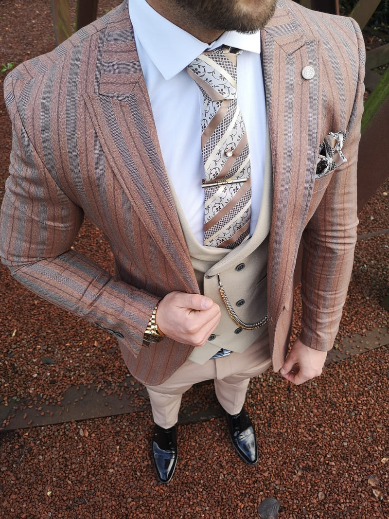 Saunders - Orange/Cream 3 Piece Suit