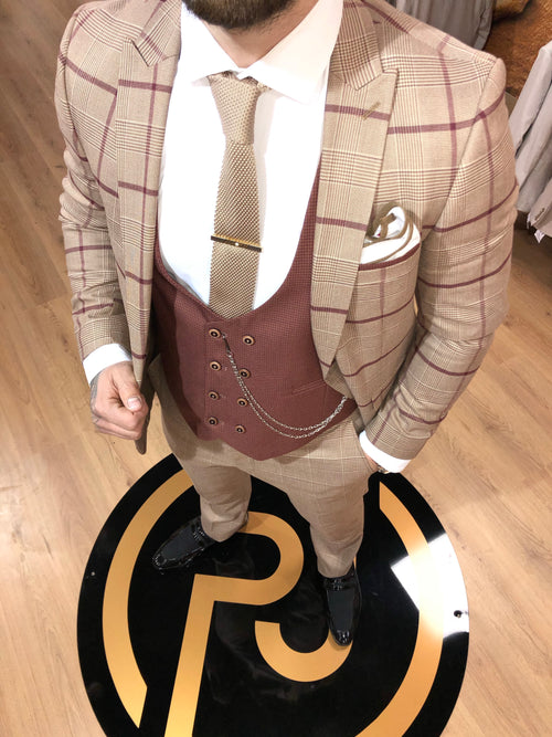 Savino - Beige/Red 3 Piece Suit