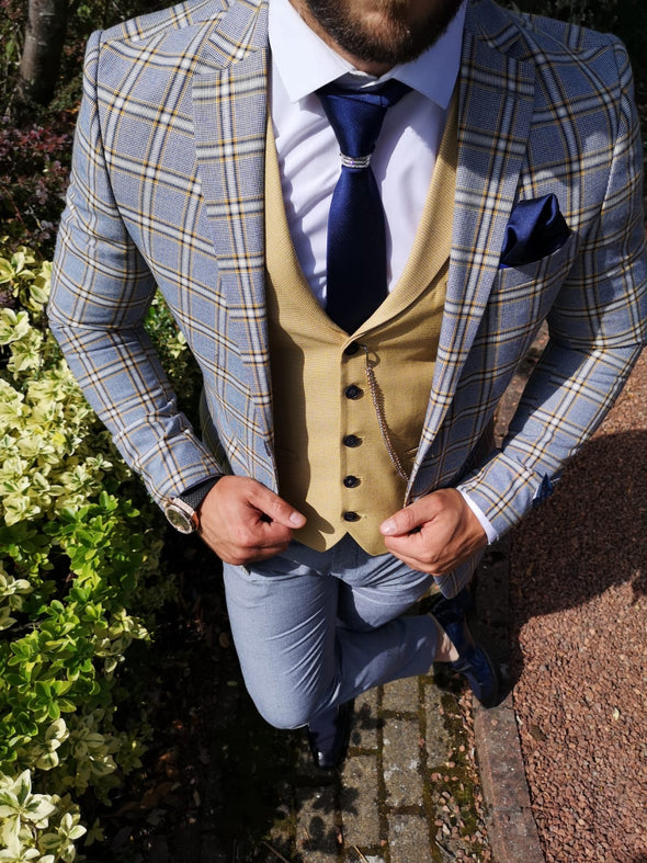 Cali - Blue/Yellow 3 Piece Suit
