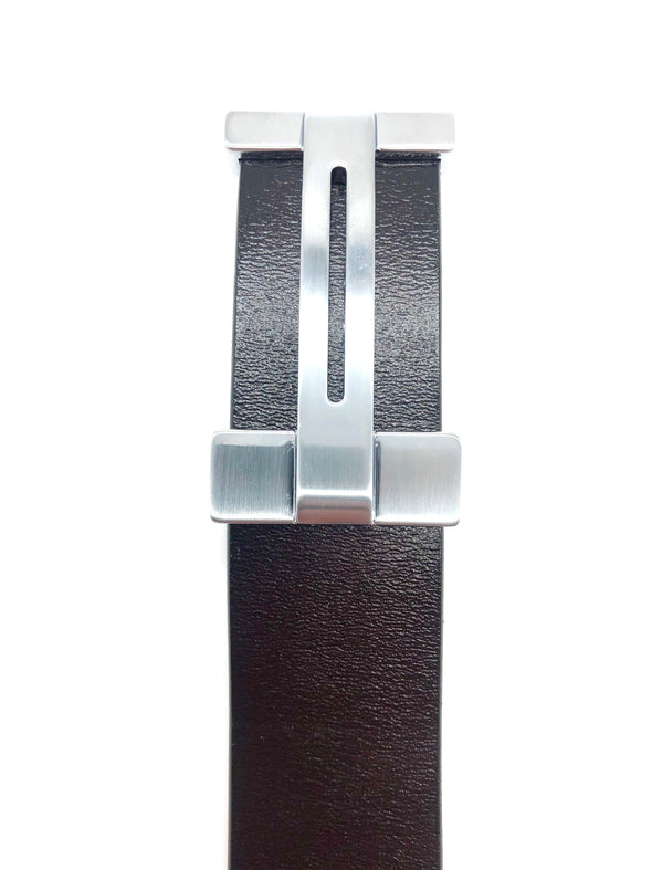 Leather H Belt - Dark Brown