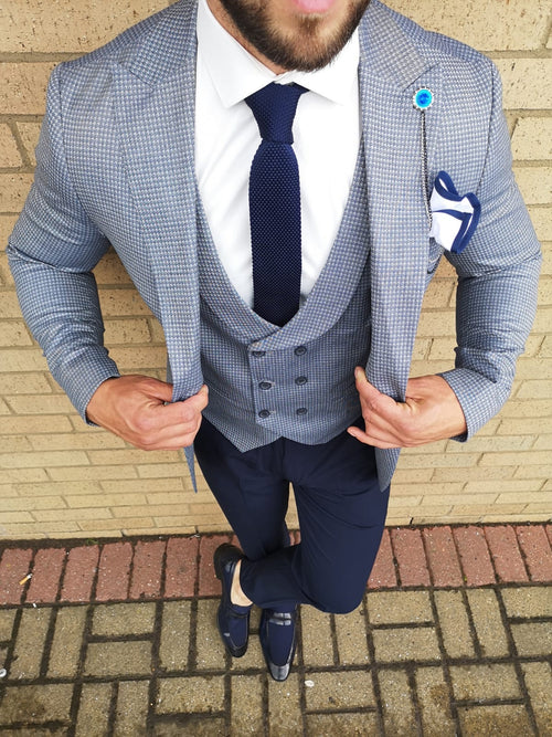 Judas - Steel Blue 3 Piece Suit