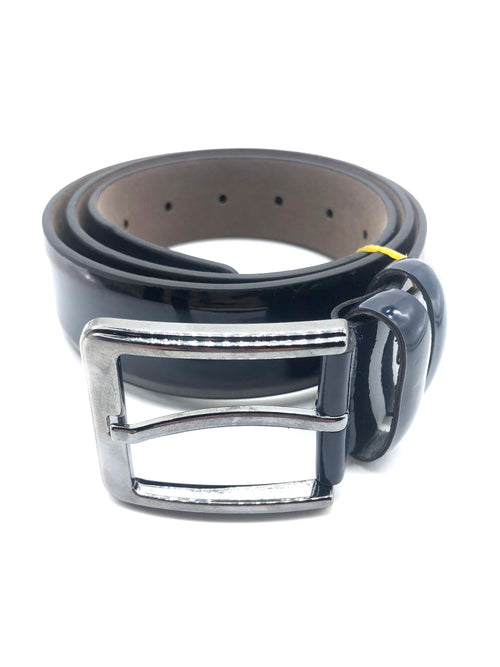Faux Patent Leather Belt - Navy