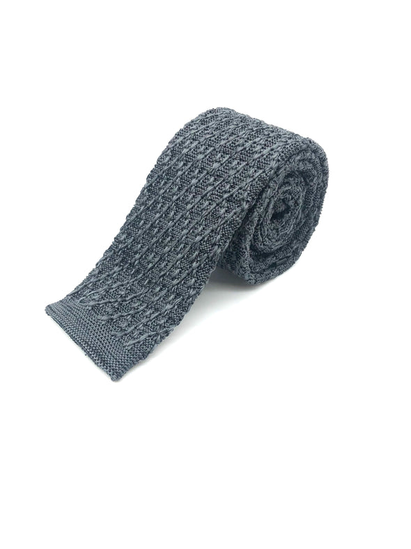 Knitted Flat Edge Pattern Tie - Charcoal
